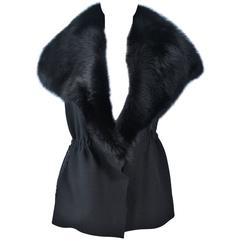 LANVIN Hiver Winter 2009 Black Fisher Fur Collar Wool Fitted Waist Vest Size 38