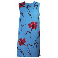 MIU MIU Blue with Red Floral Print Shift Dress Size 36 NWT