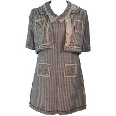 PRADA Linen Shift Dress and Cropped Jacket Ensemble Size 36 38
