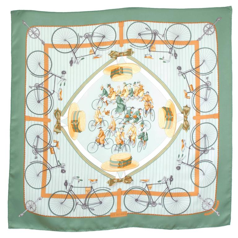 Hermes 1950s 'Les Becanes' Hermes Silk Scarf For Sale