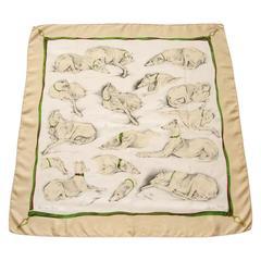 Hermes Silk Scarf Les Levriers Greyhounds De Poret 90 cm Collectible