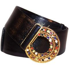 C.1990 Judith Leiber Black Lizard Belt With Cabochon Bejeweled Buckle