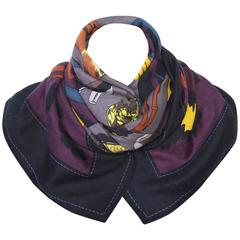 Hermes Cashmere and Silk Shawl Scarf Monsieur Madame Noir Etoupe 55 inches