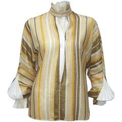 1980's Gianfranco Ferre Striped Gold Lurex Dandy Style Blouse