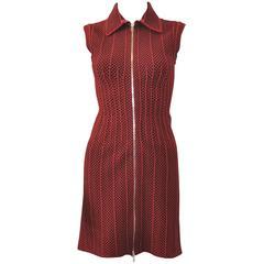 Azzedine Alaia Red Stretch Body-Con Knit Dress NWT