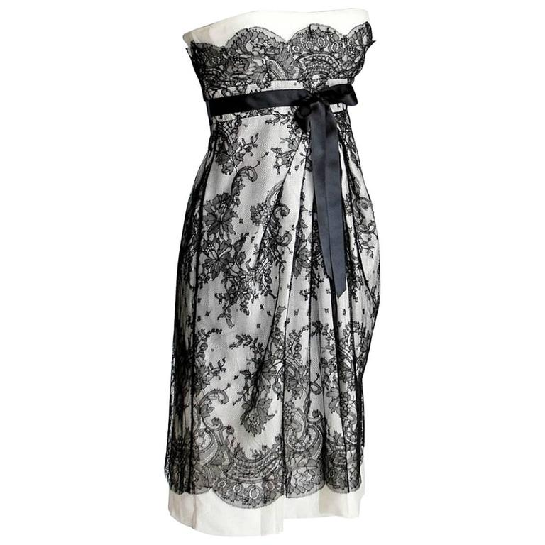 VALENTINO Dress Exquisite Black Lace Overlay Strapless Empire 38 / 4 1