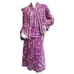 Emilio Pucci Purple Floral Silk & Velvet Ensemble c 1970