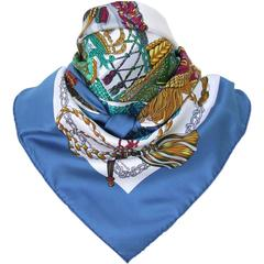 Hermes Silk Scarf Le Timbalier Knight Heron White Blue 90 cm