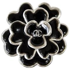 CHANEL 03C Pin Brooch Camelia Camellia Black Enamel Edged Silver