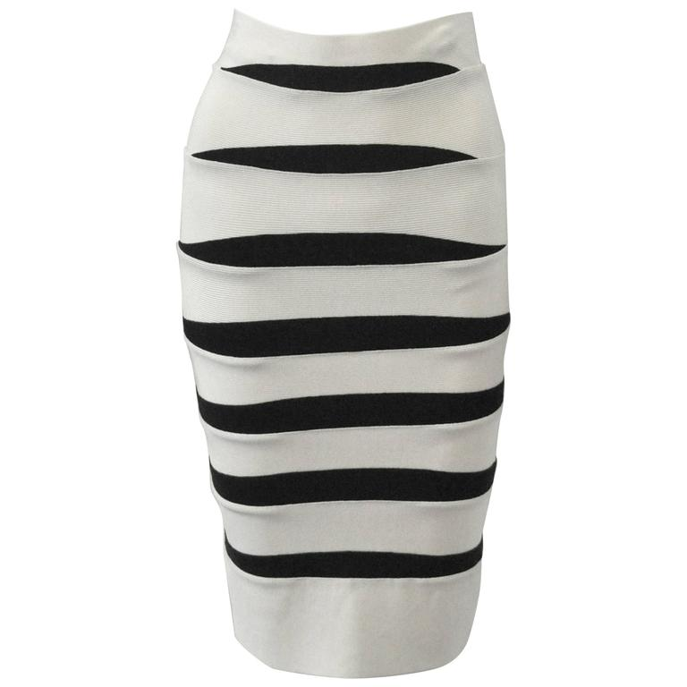 Herve Leger White and Black Body Con Bandage Skirt 1