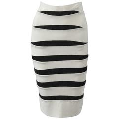 Herve Leger White and Black Body Con Bandage Skirt