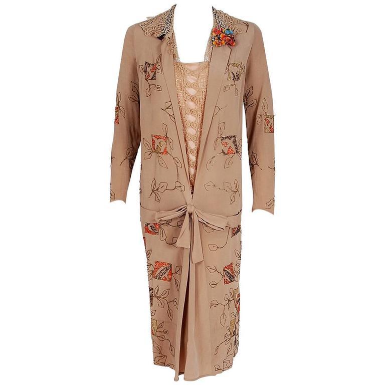 1920's Arthur Weiss Couture Metallic Embroidered Deco Silk Drop-Waist Dress
