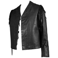 Margiela Black Leather Fringe Jacket
