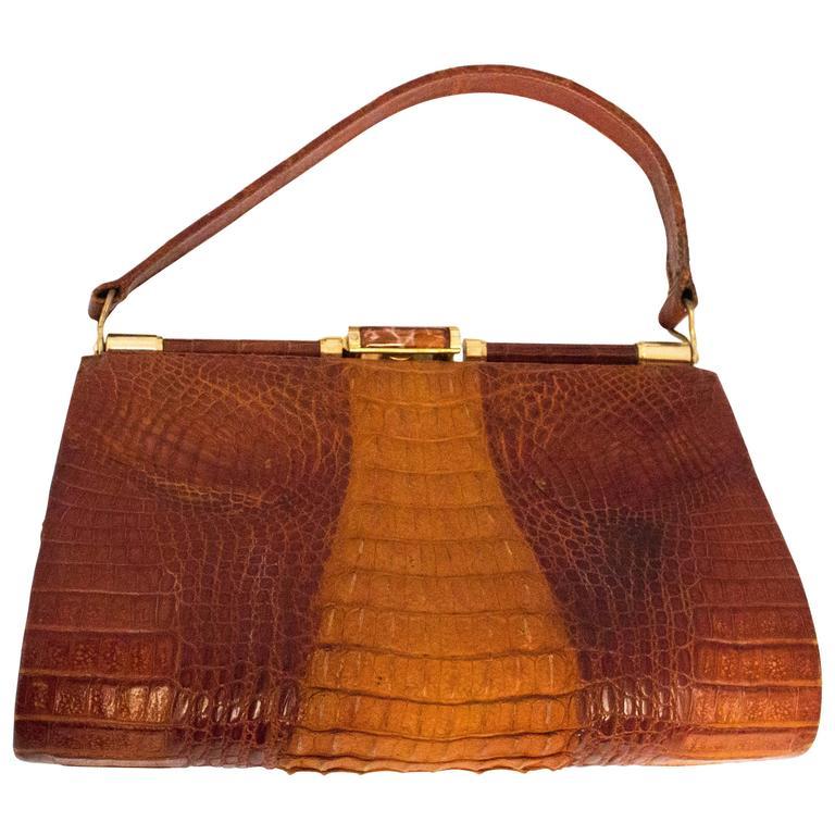 cb930218ca05 50s Hornback Alligator Handbag For Sale at 1stdibs