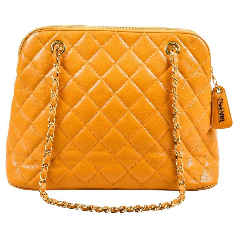 Vintage Chanel Orange Quilted Caviar Leather Quilted Shoulder Bag 1