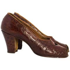 30s Sienna Brown Peep Toe Heels