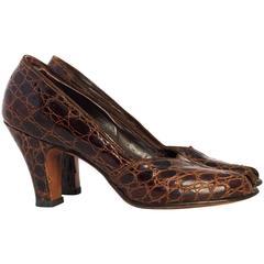 40s Brown Alligator Peep Toe Heels