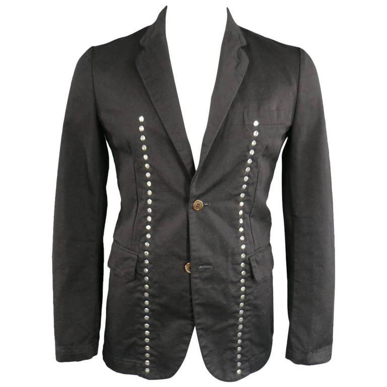 COMME des GARCONS 40 Men's Black Cotton Reversible Studded Sport Coat Jacket For Sale