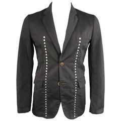 COMME des GARCONS 40 Black Cotton Reverible Studded Sport Coat Jacket