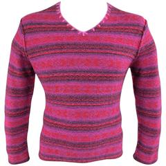 1990's COMME des GARCONS Size L Pink & Red Fairisle Wool V Neck Sweater