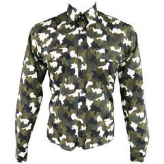PRADA Men's Size L Olive Green Black & White Camouflage Long Sleeve Dress Shirt
