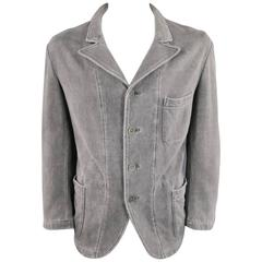 Yohji Yamamoto Men's Jacket 42 Gray Cotton Jersey Pointed Lapel Sport Coat