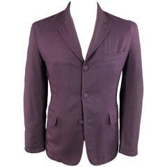 ANN DEMEULEMEESTER 38 Men's Purple Wool Oversized Sport Coat Jacket