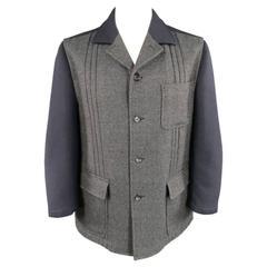 COMME des GARCONS Men's 40 Navy & Charcoal Two Tone Wool Blend Coat