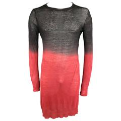 ANN DEMEULEMEESTER Size S Black & Red Sheer Cotton / Cashmere Long Line Pullover
