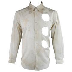 COMME des GARCONS Men's Size L Beige Dirty Wash Cotton Cutout Long Sleeve Shirt
