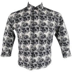 COMME des GARCONS Men's S Black & White Skull & Roses Cropped Sleeve Shirt