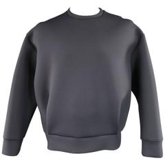 NEIL BARRETT Black Neoprene Pleated Pullover Sweatshirt