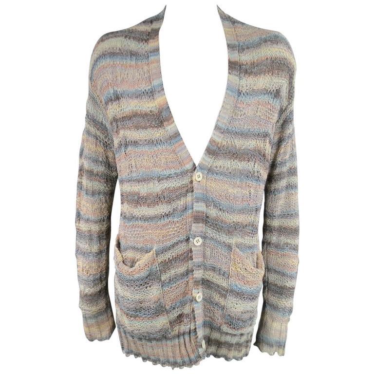 DAMIR DOMA Size L Multi-Color Pastel Cotton Mesh Oversized Cardigan 1