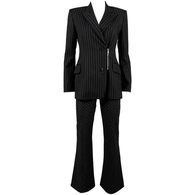 Jean-Charles de Castelbajac black pinstripe wool pant suit, c. 1990