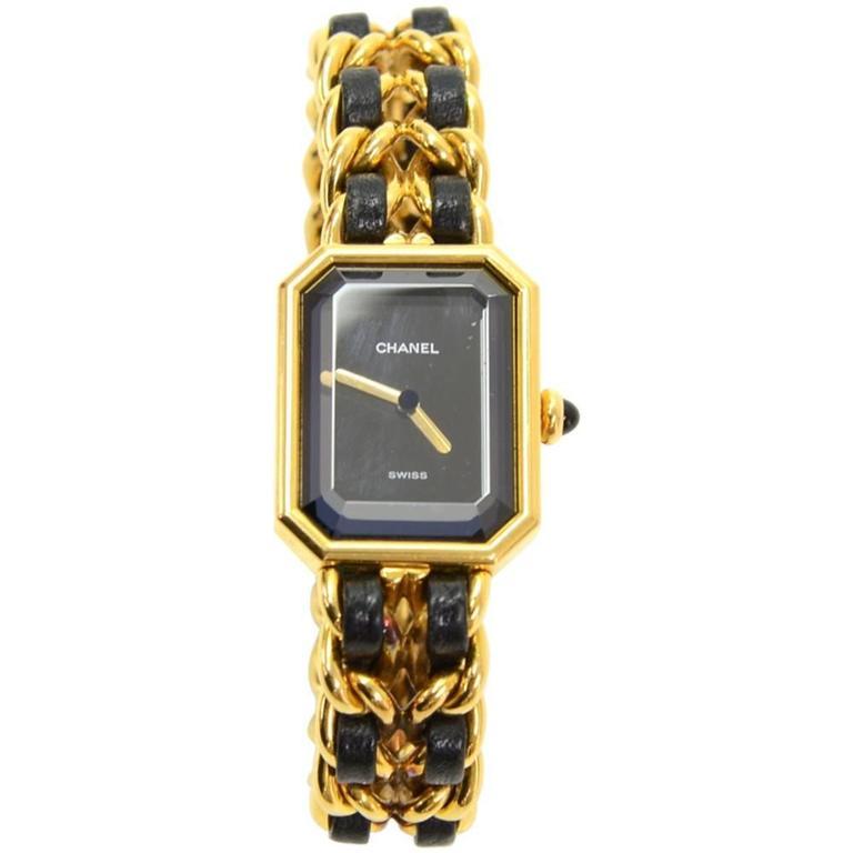 Chanel Premiere Ladies Gold Plated Quartz Black Leather Wrist Watch M Size 1