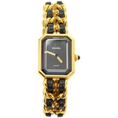 Chanel Premiere Ladies Gold Plated Quartz Black Leather Wrist Watch M Size