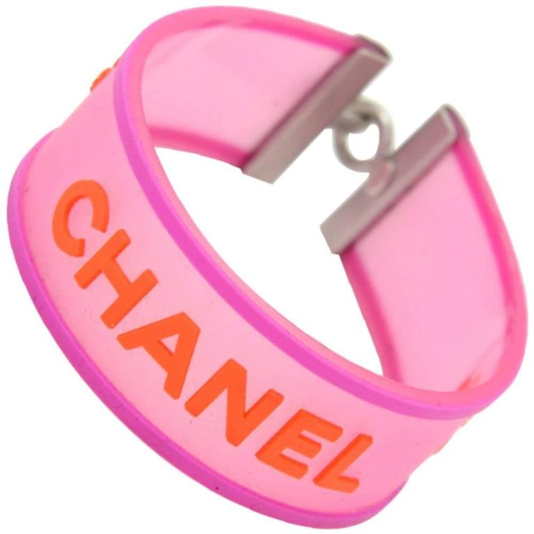 Chanel Orange x Pink Rubber Bracelet Bangle 1