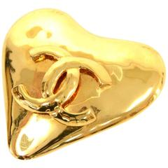 Vintage Chanel Gold Tone CC Logo Heart Shaped Large Pin Brooch