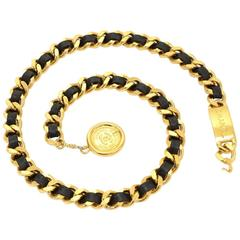 Vintage Chanel Black Leather x Gold Tone CC Medallion Chain Belt