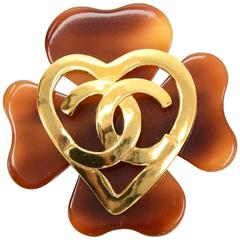 Vintage Chanel Brown Clover x Gold Heart Motif Large Pin Brooch