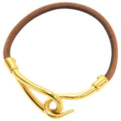 Hermes Brown Leather x Gold Tone Hook Jumbo Bracelet