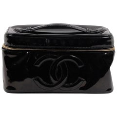 CHANEL Black Patent Leather COSMETIC BAG Vanity Case HANDBAG Purse