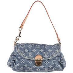 LOUIS VUITTON Blue MONOGRAM DENIM Mini PLEATY POCHETTE Shoulder Bag