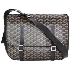 Goyard Black Chevron Print Belvedere MM Messenger Bag with SHW