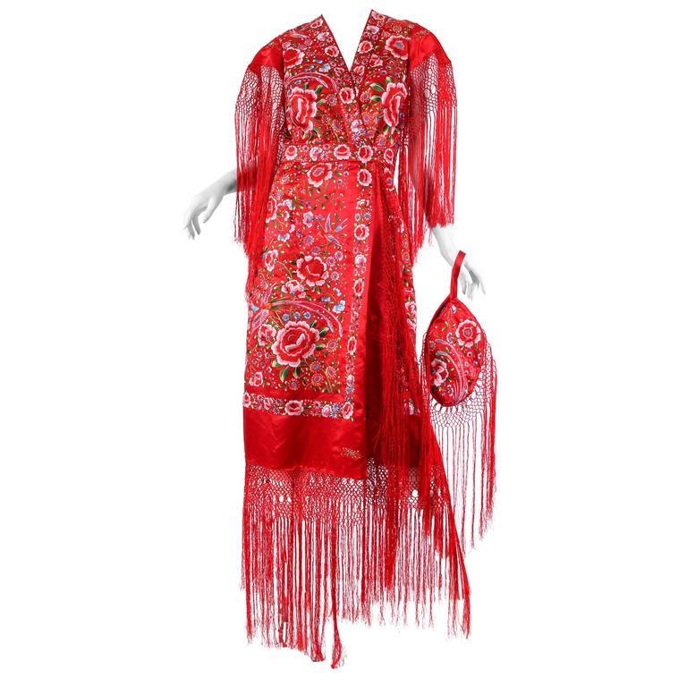 Phenomenal Hand-Embroidered Chinese Shawl Dress with Fringe