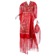 Phenomenal Hand-Embroidered Chinese Shawl Dress with Fringe