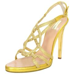 Roberto Cavalli Gold Sandals Sz 39.5 with Dust Bag and Box