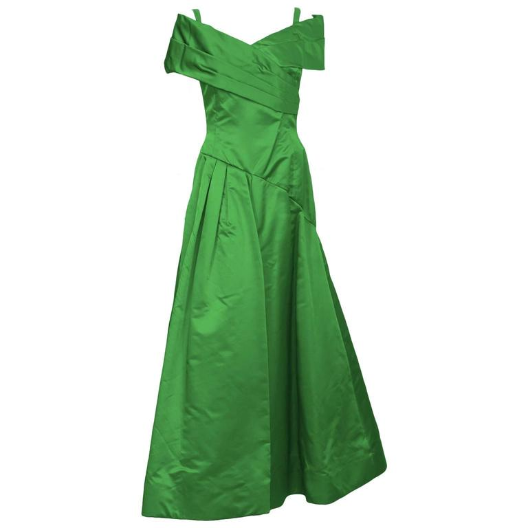 1990's Scaasi Emerald Green Satin Gown 1