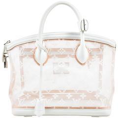 "Louis Vuitton LE NWOT $3450 White Nylon & Leather ""Transparence Lockit"" Satchel"