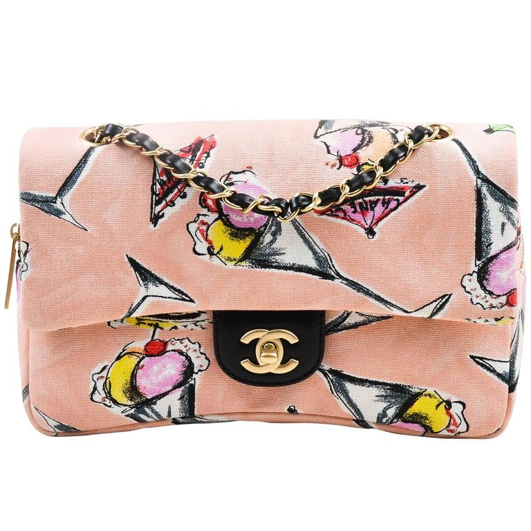 Chanel Pink GHW Printed Canvas Ice Cream Sundaes Collection 'CC' Flap Bag 1